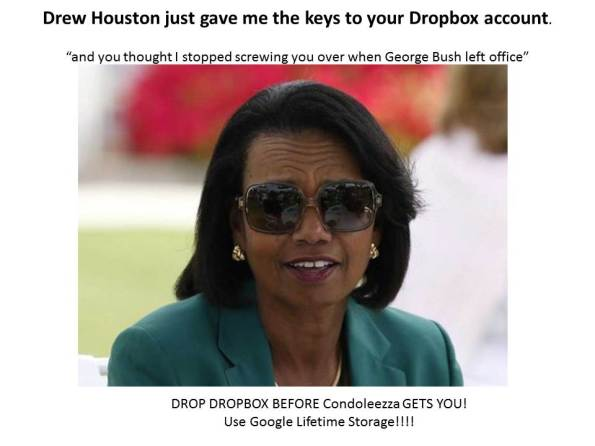 Condoleezza spys on your Dropbox account